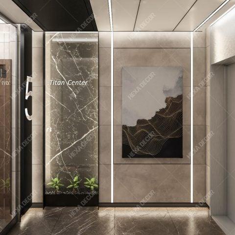 طراحی کریدور ورودی مجتمع تجاری اداری تیتان سنتر