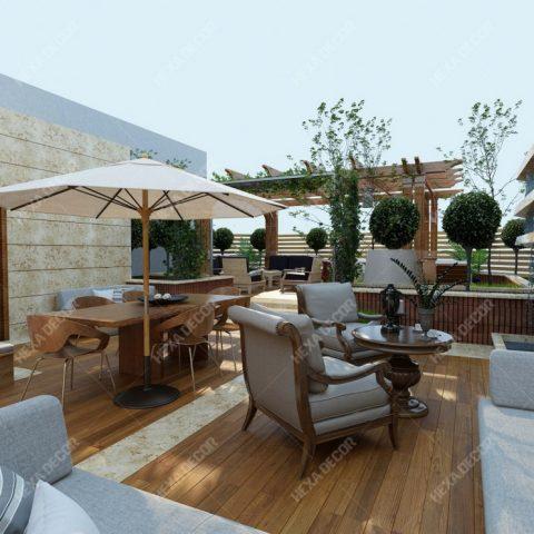 طراحی روف گاردن مجتمع مسکونی افرا